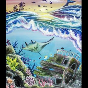 Manta Ray Shipwreck Poster