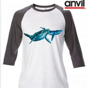 Whale Design Baseball Top
